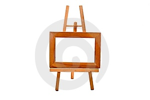 Wooden Easel With Empty Foto Frame Royalty Free Stock Images - Image: 8500599