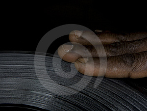 Hand Of The Dj On The Vinyl Royalty Free Stock Photos - Image: 8500718