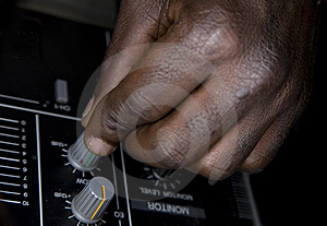 Hand Of The Dj On The Mixer Royalty Free Stock Photography - Image: 8500737
