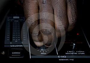 Hand Of The Dj On The Mixer Royalty Free Stock Images - Image: 8500749