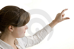 Young Woman Presenting On White Background Stock Photos - Image: 8500763