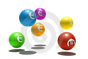 Isolated Spheres With Euro Symbol Stock Photo - Image: 8501970
