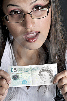Girl With Currency Stock Image - Image: 8502431