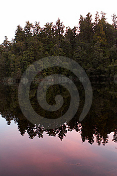 Reflection Of Trees On Lake At Sunset Stock Photos - Image: 8502543