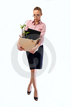 Dismissed Working Woman With A Box Stock Photo - Image: 8503970