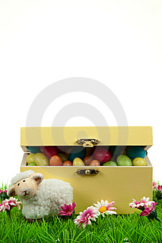 Box Of Easter Eggs And Cute Sheep Royalty Free Stock Photo - Image: 8504595