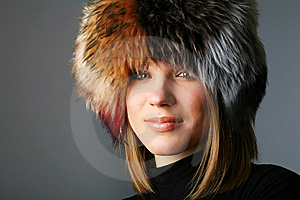 Portrait Of A Beautiful Woman In A Fur Hat Stock Photos - Image: 8505373