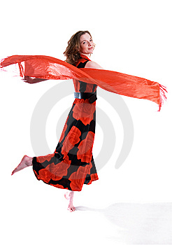 Attractive Bright Girl Is Dancing, Isolated Royalty Free Stock Image - Image: 8506436