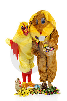 Easter Bunny And Chicken Royalty Free Stock Photo - Image: 8507275