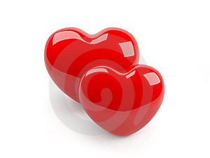 Two Isolated Red Heart Royalty Free Stock Photos - Image: 8507468
