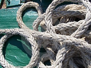 Marine Rope Exposure On Board A Ship Stock Images - Image: 8507884