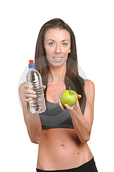 Fitness Woman Apple And Water Stock Photos - Image: 8508133