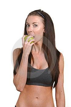 Fitness Woman Biting An Apple Stock Photos - Image: 8508193