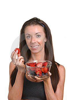 Fitness Woman Eating Fresh Fruit Stock Photography - Image: 8508222