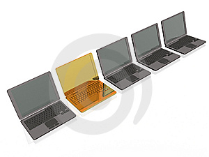 Laptops - Gold And Grey Stock Image - Image: 8508251