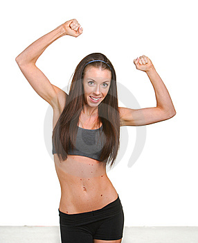 Fitness Woman Jumping For Joy Royalty Free Stock Photography - Image: 8508337