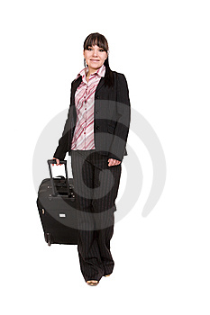 Businesswoman With Suitcase Royalty Free Stock Image - Image: 8509916