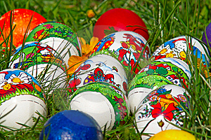 Easter Eggs In Grass Royalty Free Stock Photo - Image: 8510015