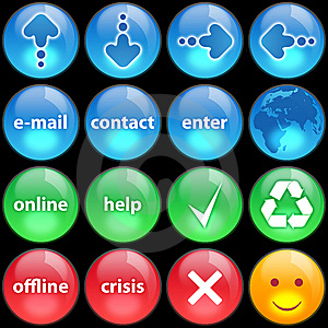 Green, Blue And Red Buttons On Black Background Stock Images - Image: 8510604