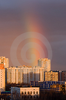 Rainbow In A City Stock Image - Image: 8512241