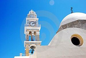 Clock Tower At The Church - Santorini Stock Photos - Image: 8512703