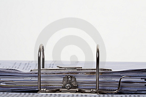 Paperwork Stacked In Lever Arch Folder Royalty Free Stock Image - Image: 8514046
