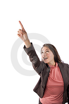 Asian Woman Pointing Upward Royalty Free Stock Photography - Image: 8514927