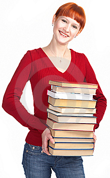 Young Redhaired Girl With Book Royalty Free Stock Image - Image: 8515546