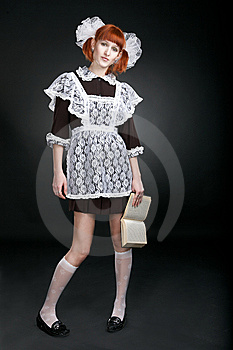 Retro Soviet Redhaired Girl With Book Stock Images - Image: 8515554
