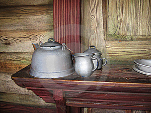 Antique Teapots In An Old House Stock Image - Image: 8516751