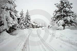 Road In Snowstorm Stock Images - Image: 8517654