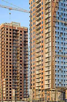 High-rise Buildings Under Construction Royalty Free Stock Images - Image: 8519049