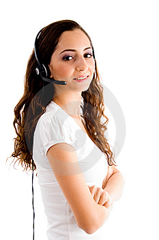 Side Pose Of Female With Headphone Royalty Free Stock Images - Image: 8519909