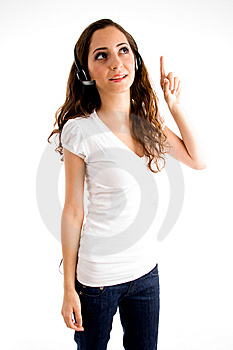 Young Pointing Female With Headphone Royalty Free Stock Image - Image: 8519916