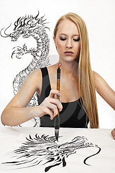 Woman DESIGN Chinese Calligraphy: DRAGON Stock Photography - Image: 8520462