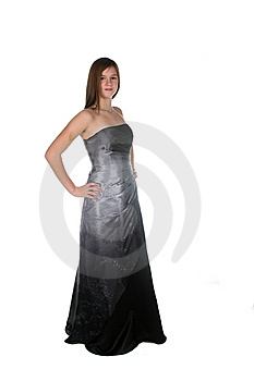 Beautiful Teen In Floor Length Dark Glittery Gown Royalty Free Stock Images - Image: 8520479