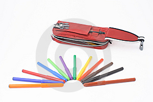 Pencil Case With Felt-tip Pens Stock Images - Image: 8520764