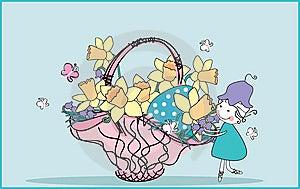 Girl Decorating Easter Basket Royalty Free Stock Image - Image: 8520926