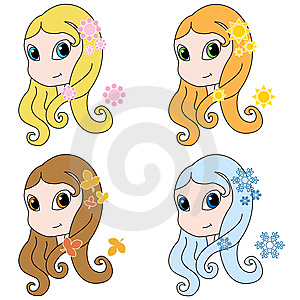 Four Seasons Girls Royalty Free Stock Images - Image: 8521839