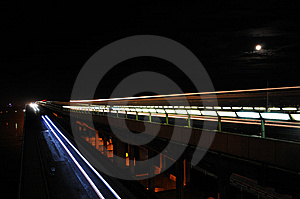 Subway Bridge At Night Stock Photos - Image: 8523773