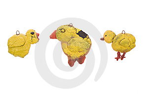 Trhee Ducks Made With Clay Royalty Free Stock Image - Image: 8523886
