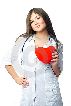 Cardiologist With A Heart Shaped Pillow Stock Photography - Image: 8525082