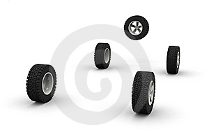 Five New Off-road Car Wheels Royalty Free Stock Images - Image: 8526989