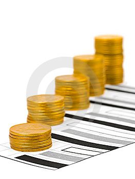 Coins And Diagram Stock Images - Image: 8528014