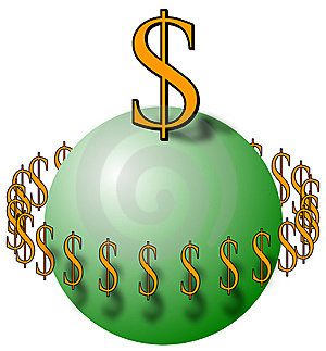 Sphere With Dollar Signs Royalty Free Stock Image - Image: 8528576
