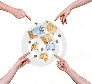 Four Hands Pointing At Money Royalty Free Stock Photo - Image: 8528725