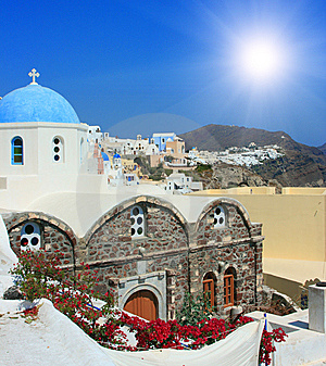 View Over Town Oia Island Santorini, Greece Royalty Free Stock Images - Image: 8531049