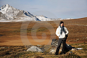 Girl In High-elevation Mountain Royalty Free Stock Images - Image: 8531079