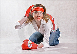 Girl With Boxing Gloves. Royalty Free Stock Photos - Image: 8532468