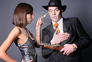 Couple Of Gangsters Royalty Free Stock Photo - Image: 8532545